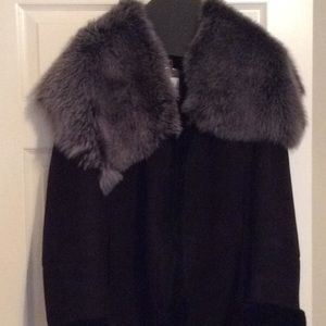 Badgley Mischa couture, black suede coat shearling